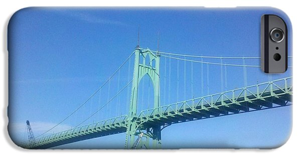 City Scape iPhone Cases - St Johns Bridge 2 iPhone Case by Heather L Giltner