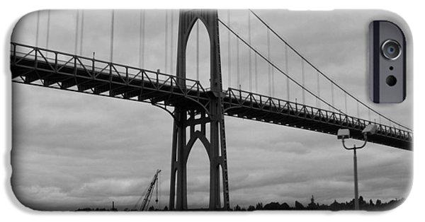 City Scape iPhone Cases - St Johns Bridge iPhone Case by Heather L Giltner