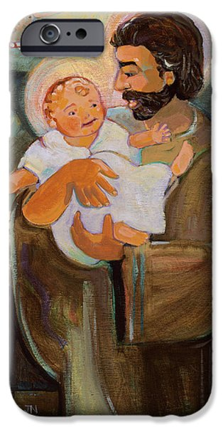 Baby Jesus iPhone Cases - St. Joseph and Baby Jesus iPhone Case by Jen Norton
