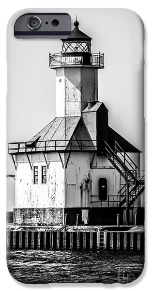 Lake House iPhone Cases - St. Joseph Lighthouse Black and White Picture  iPhone Case by Paul Velgos