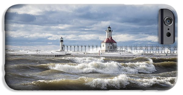 Chicago iPhone Cases - St Joseph Lighthouse on Windy Day iPhone Case by John McGraw