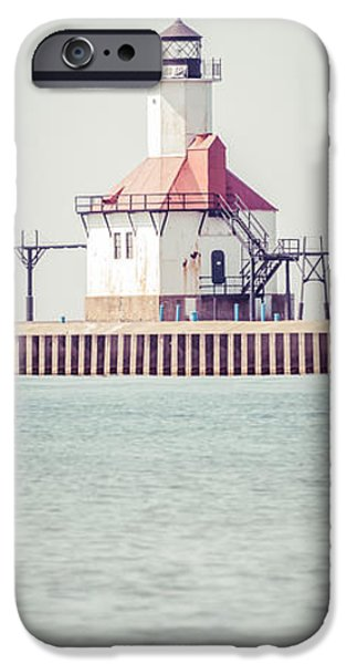 House iPhone Cases - St. Joseph Lighthouse Vertical Panorama Photo iPhone Case by Paul Velgos