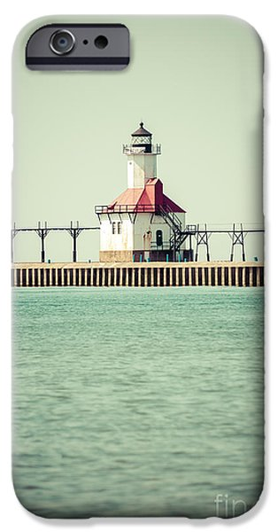 Lake House iPhone Cases - St. Joseph Lighthouse Vintage Picture  iPhone Case by Paul Velgos