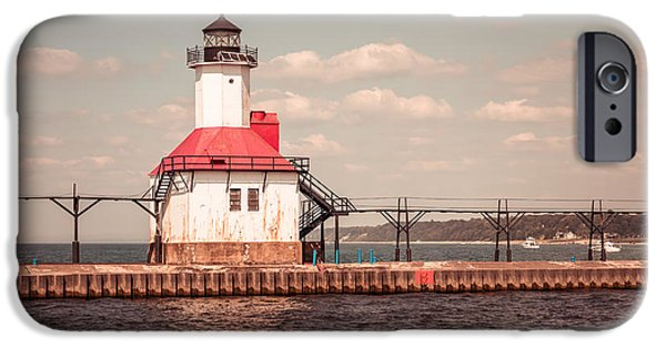 Lake House iPhone Cases - St. Joseph Lighthouse Vintage Picture  Photo iPhone Case by Paul Velgos