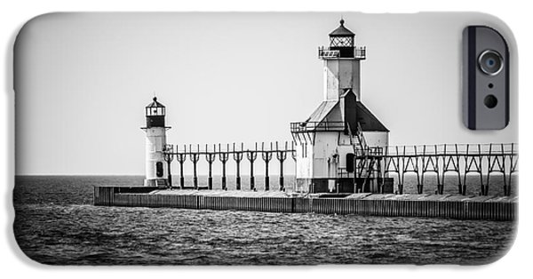 Lake House iPhone Cases - St. Joseph Lighthouses Black and White Picture  iPhone Case by Paul Velgos
