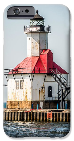 Lake House iPhone Cases - St. Joseph Michigan Lighthouse Picture  iPhone Case by Paul Velgos