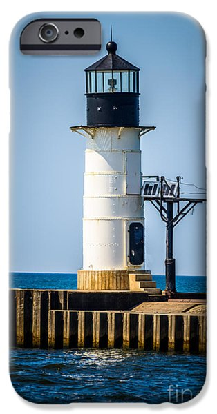 Lake House iPhone Cases - St. Joseph Outer Lighthouse Photo iPhone Case by Paul Velgos