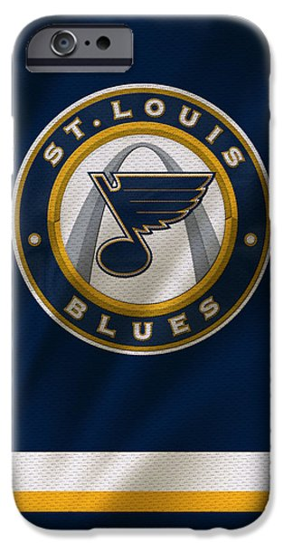 Winter iPhone Cases - St Louis Blues Uniform iPhone Case by Joe Hamilton
