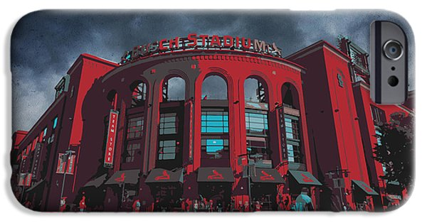 Recently Sold -  - Texture iPhone Cases - St. Louis Busch Stadium Cardinals 9162 Art iPhone Case by David Haskett