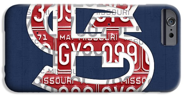Automotive iPhone Cases - St. Louis Cardinals Baseball Vintage Logo License Plate Art iPhone Case by Design Turnpike