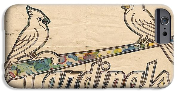 Cardinal iPhone Cases - St Louis Cardinals Poster Art iPhone Case by Florian Rodarte