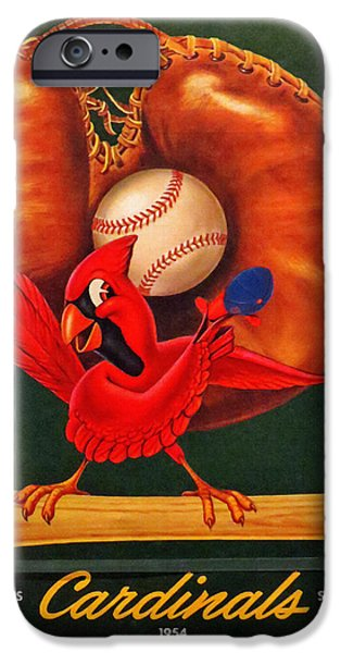 Baseball Stadiums Paintings iPhone Cases - St. Louis Cardinals Vintage 1954 Scorecard iPhone Case by Big 88 Artworks