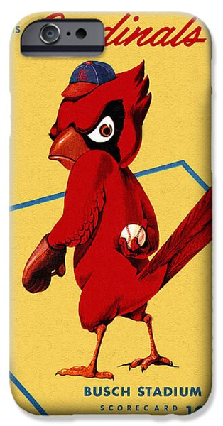 Baseball Stadiums Drawings iPhone Cases - St. Louis Cardinals Vintage 1956 Program iPhone Case by Big 88 Artworks