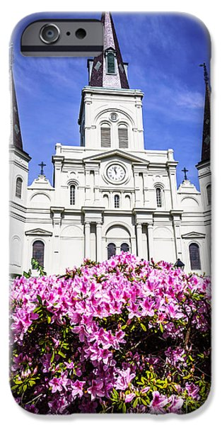 Old Photos iPhone Cases - St. Louis Cathedral and Flowers in New Orleans iPhone Case by Paul Velgos