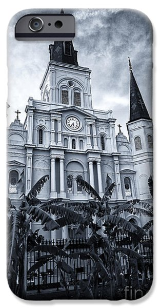 Monotone iPhone Cases - St. Louis Cathedral at Night iPhone Case by John Rizzuto