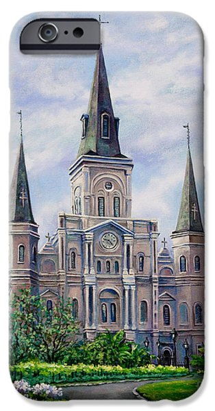 City Scene Paintings iPhone Cases - St. Louis Cathedral iPhone Case by Dianne Parks