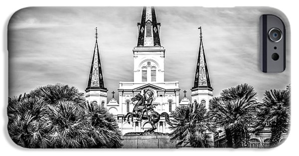 Old Photos iPhone Cases - St. Louis Cathedral in New Orleans Black and White Picture iPhone Case by Paul Velgos