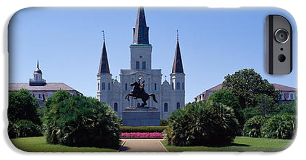 Equestrian Center iPhone Cases - St Louis Cathedral Jackson Square New iPhone Case by Panoramic Images
