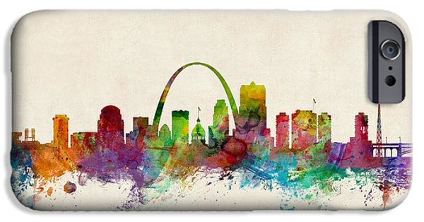 United iPhone Cases - St Louis Missouri Skyline iPhone Case by Michael Tompsett