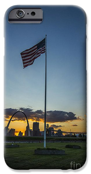 Betsy Ross iPhone Cases - St. Louis Skyline American Flag Sunset iPhone Case by David Haskett