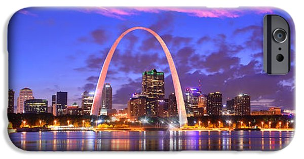 St Photographs iPhone Cases - St. Louis Skyline at Dusk Gateway Arch Color Panorama Missouri iPhone Case by Jon Holiday