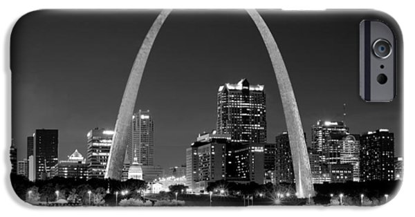 St Photographs iPhone Cases - St. Louis Skyline at Night Gateway Arch Black and White BW Panorama Missouri iPhone Case by Jon Holiday