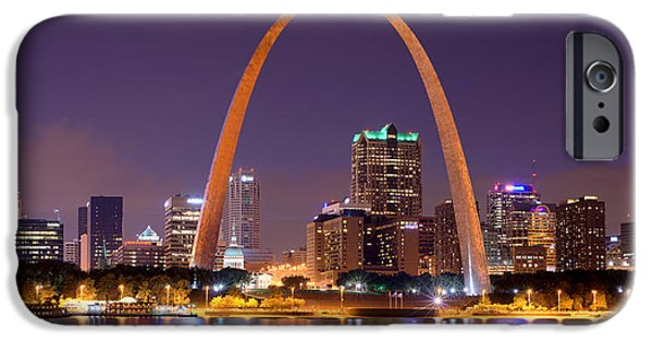 St Photographs iPhone Cases - St. Louis Skyline at Night Gateway Arch Color Panorama Missouri iPhone Case by Jon Holiday