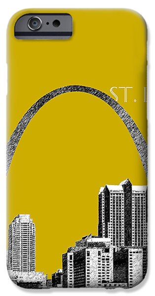 Pen And Ink iPhone Cases - St Louis Skyline Gateway Arch - Gold iPhone Case by DB Artist