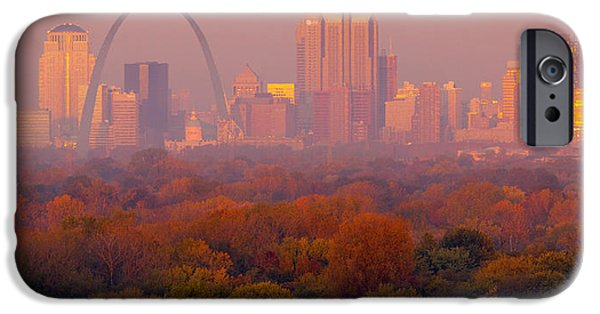 Skyline Pyrography iPhone Cases - St Louis Sunrise iPhone Case by Garry McMichael