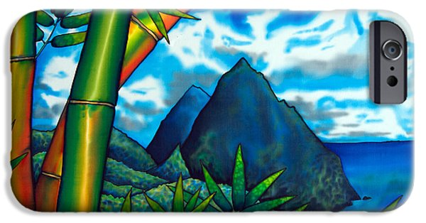 Sea Tapestries - Textiles iPhone Cases - St. Lucia Pitons iPhone Case by Daniel Jean-Baptiste