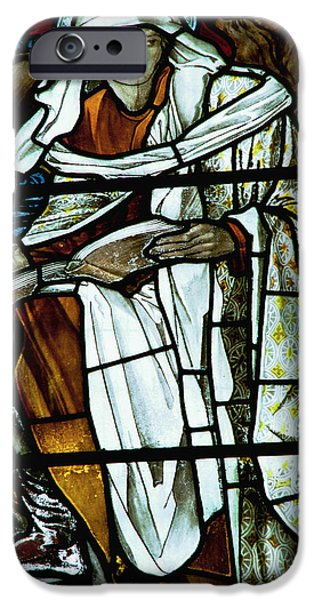 Vintage Glass iPhone Cases - St Luke in stained glass iPhone Case by Philip Ralley