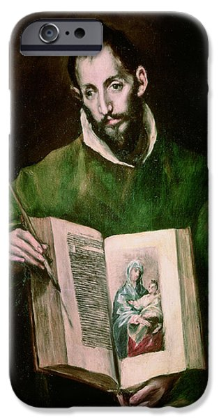 Evangelist iPhone Cases - St. Luke Oil On Canvas iPhone Case by El Greco