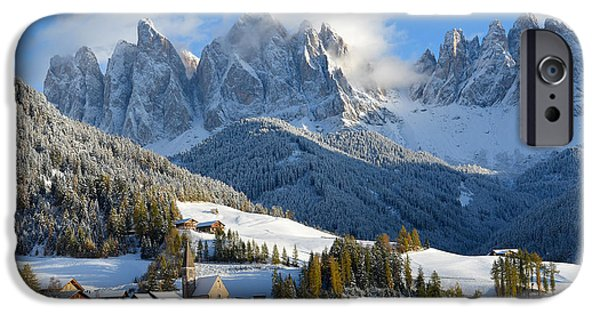 Village iPhone Cases - St. Magdalena village in the snow in winter iPhone Case by IPics Photography