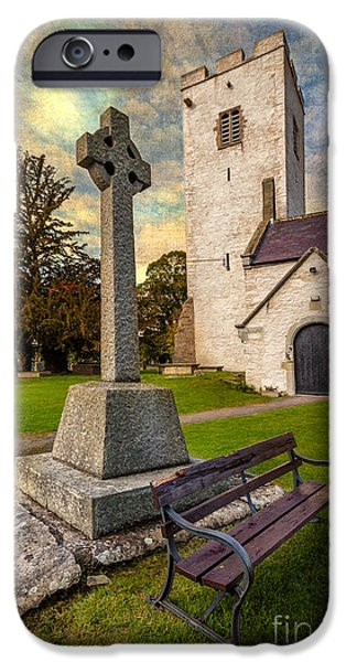 Cemetary iPhone Cases - St. Marcellas Celtic Cross iPhone Case by Adrian Evans