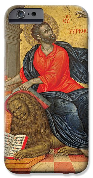 Evangelist iPhone Cases - St Mark the Evangelist iPhone Case by Emmanuel Tzanes