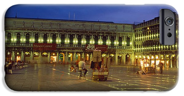 Piazza San Marco iPhone Cases - St. Marks Square Lit Up At Night iPhone Case by Panoramic Images