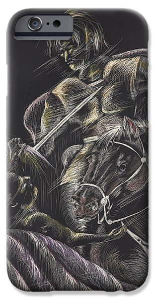 Michelle Drawings iPhone Cases - St. Martin of Tours iPhone Case by Michelle Miller