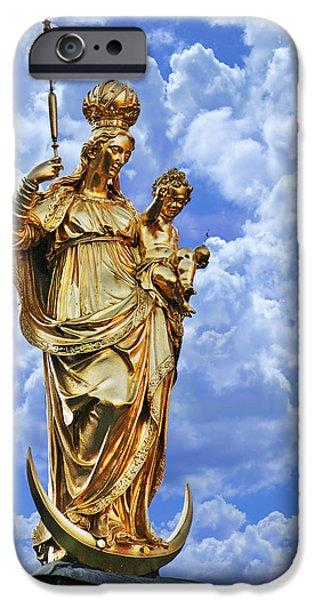 Bayern iPhone Cases - St Marys Column Marienplatz Munich iPhone Case by Christine Till