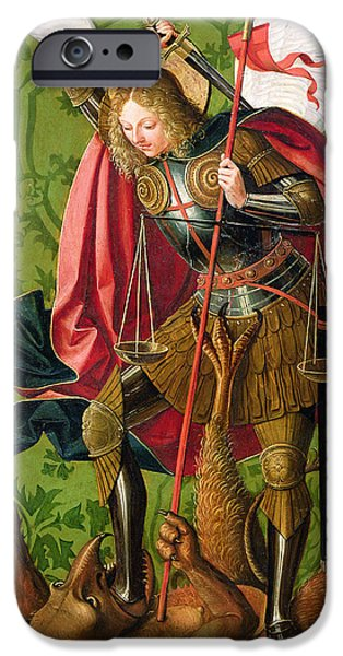 Creature Paintings iPhone Cases - St. Michael Killing the Dragon  iPhone Case by Josse Lieferinxe