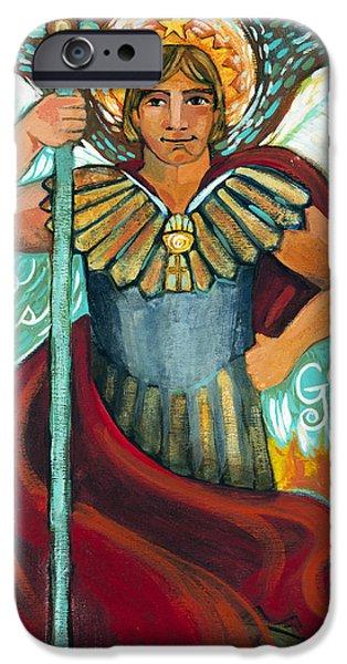 Book Of Daniel iPhone Cases - St. Michael the Archangel iPhone Case by Jen Norton