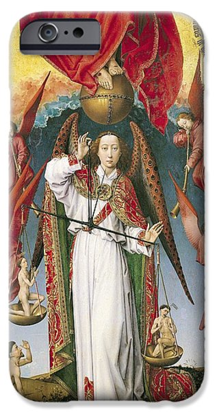 Christ In Majesty iPhone Cases - St. Michael Weighing The Souls, From The Last Judgement, C.1445-50 Oil On Panel Detail Of 170072 iPhone Case by Rogier van der Weyden
