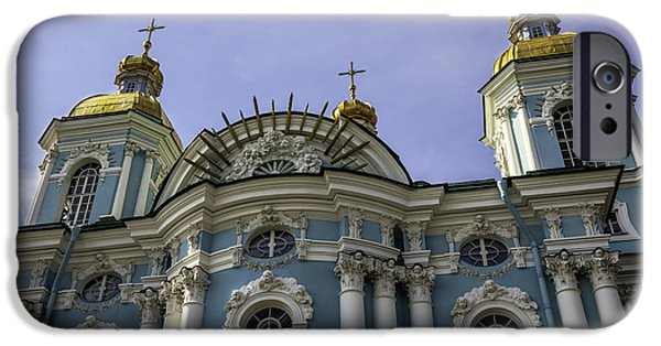 St Nicholas iPhone Cases - St. Nicholas Naval Cathedral - St. Petersburg - Russia iPhone Case by Madeline Ellis