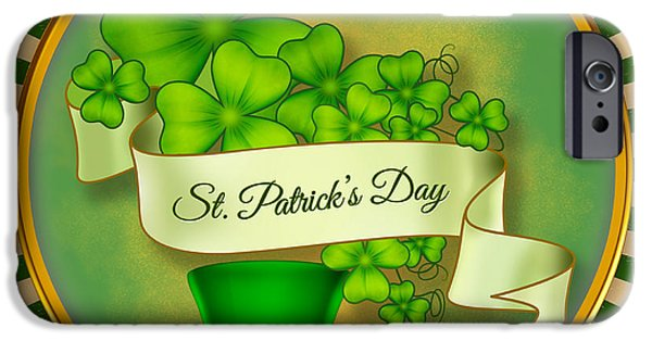 Celebrate Mixed Media iPhone Cases - St. Patricks Day iPhone Case by Bedros Awak
