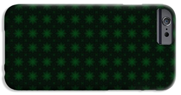 Shelley Irish iPhone Cases - St. Patricks Green Starburst Abstract Pattern iPhone Case by Shelley Neff