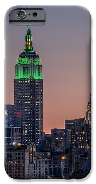 Empire State iPhone Cases - St Patricks Day postcard iPhone Case by Eduard Moldoveanu