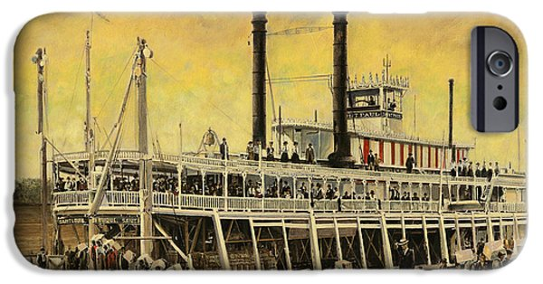 Steamboat iPhone Cases - St. Paul Steamboat iPhone Case by Don  Langeneckert
