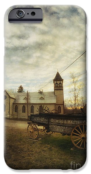 Wagon Photographs iPhone Cases - St. Pauls Anglican Church with Wagon  iPhone Case by Priska Wettstein