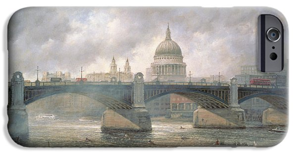 Water Vessels Paintings iPhone Cases - St. Pauls Cathedral from the Southwark Bank iPhone Case by Richard Willis