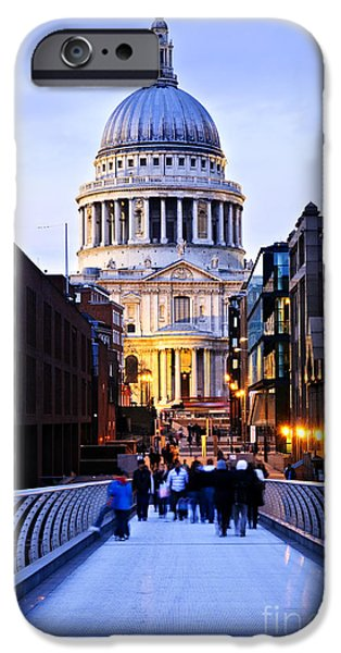 United iPhone Cases - St. Pauls Cathedral London at dusk iPhone Case by Elena Elisseeva