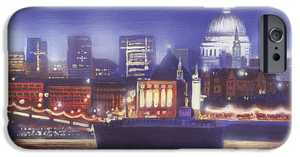 Big Ben iPhone Cases - St Pauls Landscape river iPhone Case by MGL Meiklejohn Graphics Licensing